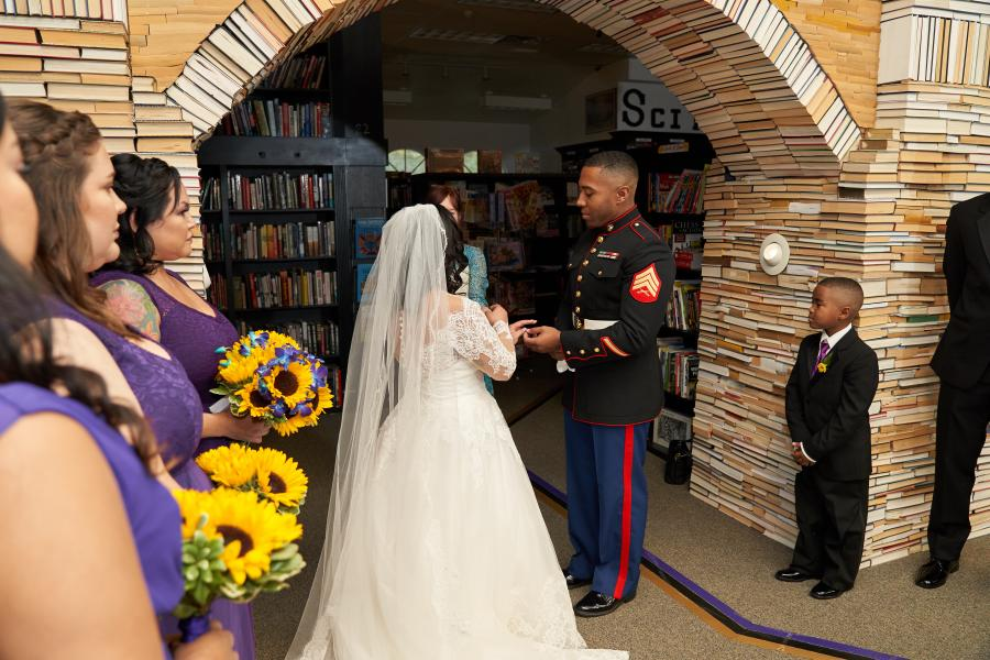 Sandman Books military wedding